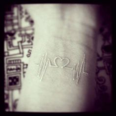 heart beat tattoo white ink without heart loved one heartbeat