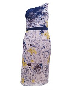 Project D Silk Floral Dress, White, Blue, Yellow  one shouldered dress, with blue and yellow floral design on white background  the perfect wedding/summer dress  navy blue flattering waist band  gathered on one side  fits to the knee, just below