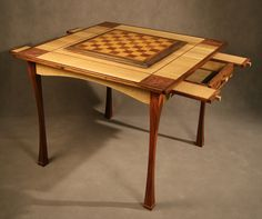 Custom chess - game table, oak, & rosewood