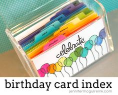 Birthday Index Card Box by Jennifer McGuire Ink