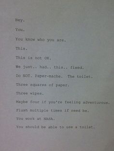Passive Aggressive Roommate Notes