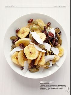 Banana, coconut, flakes Almonds