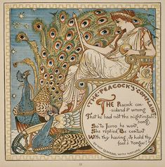 Walter Crane, Juno and her Birds, 1887 - With their sumptuous ornamental feathers, elegant silhouettes and rich iridescent colors, peacocks were the Art Nouveau birds par excellence.
