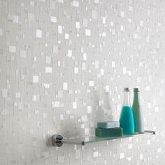 This design, created using light and non-intrusive whites and blues, is ideal for bathrooms and can be cleaned with a sponge or even scrubbed if necessary for easy maintenance. Description from houzz.com. I searched for this on bing.com/images