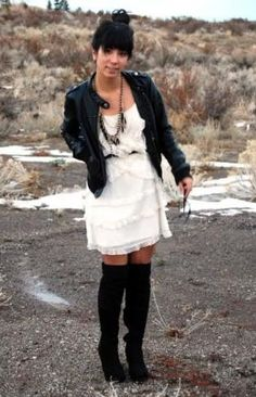 black+leather+jacket+outfits | The Leather Jacket/Lace Dress Combination | Fashion Israel אופנה ...