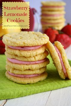 "Strawberry Lemonade Cookies | Jens Favorite Cookies: I'm thinking this could be even easier by making sugar cookies from a package and putting in lemonade powder and buying strawberry frosting. Yea, it's the lazy way, but who wants to spend all the time baking when we could get right to eating?! Besides, you can buy ""healthy"" versions of each."
