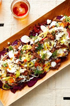 Yes, Borscht Nachos. As in, sweet, earthy beet chips piled high with shredded beef—robustly flavored from a braise with ketchup and paprika—quark Best Beet Recipe, Beet Recipes, Salad Recipes, Healthy Recipes, Healthy Cooking, Yogurt Dip Recipe, Hummus Recipe, Beet Soup, Beet Hummus