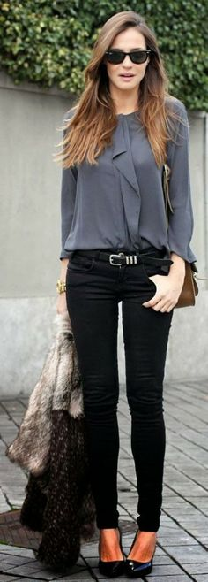 baafd9750dc1b A monochrome outfit with black pumps and skinny jeans. on The Fashion Time  http