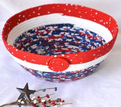 $30 #4th #of #July #Party #Basket #Handmade #Patriotic #bowl Father's #day #American #flag by #Wexford #Treasures