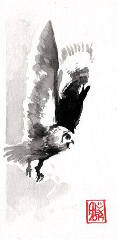 Aquarelle sur papier 300gr / Watercolor on paper 300gr 16 x 8 cm / 6.3 x 3.15 in Aquarelle : Hibou / Owl 01/09/2014 by Alexandre Guillaume