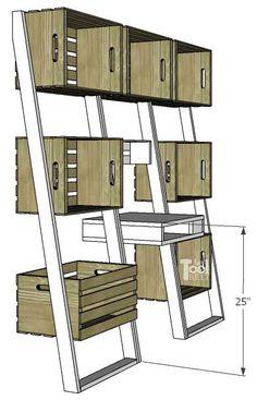 Leaning Crate Ladder Bookshelf and Desk - Her Tool Belt Leaning Bookshelf, Ladder Bookshelf, Bookshelves, Large Corner Shelf, Crate Shelves, Half Walls, Daughters Room, Home Decor Inspiration, Decoration