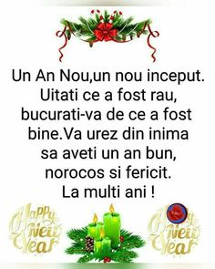 An Nou Fericit, Happy New Year Images, Birthday Wishes Cards, True Words, Bellisima, Happy Birthday, Christmas, Eating Clean, Messages