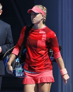 (this jacket she's wearing!) Angelique Kerber of Germany walks onto Rod Laver Arena for her fourth round match against compatriot Annika Beck at the Australian Open tennis championships in Melbourne, Australia, Monday, Jan. Johanna Konta, Australian Open Tennis, Rod Laver Arena, Sabine Lisicki, Angelique Kerber, Tennis Association, Petkovic, Tennis News, Caroline Wozniacki