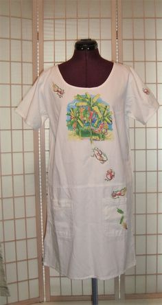 New WT Las Olas Sz S Artist Pat Anderson White All Cotton Shift Dress W/ Monkeys #LasOlas #Shift