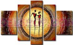5 quadri dipinti a mano etnici marrone e oro