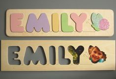 Wooden Name and Butterfly puzzle... Want one of these for soph so bad