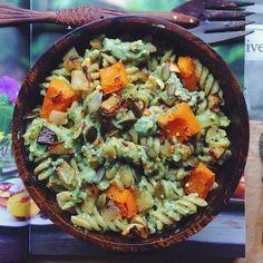 Cashew, Kale and Chlorella Pesto over Pasta and Butternut Squash
