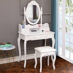 Ktaxon Elegance White Dressing Table Vanity Table and Stool Set Wood Makeup Desk with 4 Drawers & Mirror White Dressing Tables, Makeup Dressing Table, Dressing Table With Stool, Dressing Table Mirror, Bedroom Vanity Set, Vanity Table Set, Vanity Set With Mirror, Dresser With Mirror, Bedroom Vanities