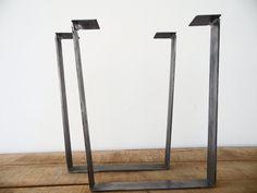 28 Trapezoid Table Legs Flat Steel Height 26  30  by Balasagun, $190.00