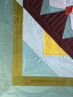 """""""Autumn's Surrender"""" (detail), made and quilted by Margaret Solomon Gunn, 2014, silk Radiance, www.quiltsoflove.blogspot.com"""