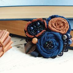 Dark blue fabric flower brooch by CozyBrooch on Etsy