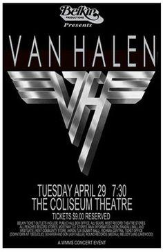 Van Halen Concert Poster Vintage Concert Posters, Vintage Posters, Concert Flyer, Rock Videos, Rock Posters, Music Posters, We Will Rock You, Old Advertisements, Rock Concert