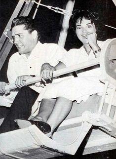 Elvis Presley and Anita Wood on a ferris wheel