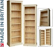 Solid Pine Bookcase, 6ft x 2ft Handcrafted & Waxed Adjustable Display Storage Shelving Unit. Bookshelves. Choice of Colours. No flat packs, No assembly (BK62): Amazon.co.uk: Office Products