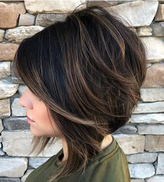 Angled Brown Balayage Bob