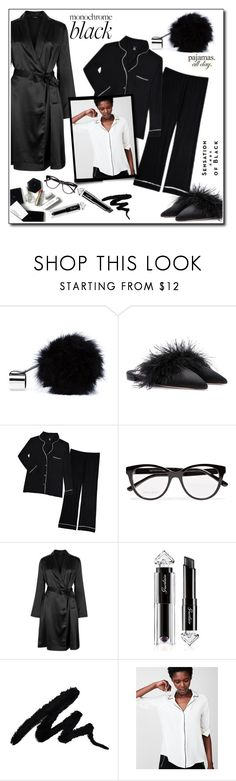 """All black pajamas All day!"" by fashionlibra84 ❤ liked on Polyvore featuring Perrin, Prada, H&M, Jimmy Choo, La Perla, Guerlain, Express, Vision and LovelyLoungewear"
