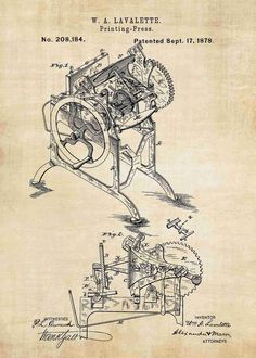 Printing Press Patent Print #patentprints