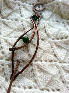 Copper Shawl Pin or Scarf Pin or hair slide / hair barrette / hair clasp in leaf design The style of this brooch or hair pin is woodland This copper shawl pin or scarf pin is hand-formed, hand-hammered, wire wrapped by Lirimaer. Shawl pin is adorned with green agate The pin is
