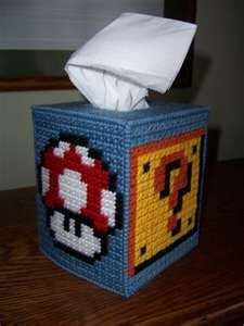 Plastic Canvas Needlepoint Pattern for Super Mario Brothers Tissue Box ...Maybe I'll make this for Tony @Cat Wrubleski?