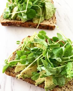 Have a more substantial yet healthy breakfast in the morning with this Avocado and snow pea microgreens toast. It