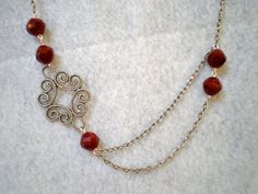 Scroll Necklace Maroon Glass Beads by SharonKrug on Etsy, $32.00