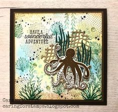 Caring for Stamps: Vintage Vrijdag Stampin' Up! ~ Sea of Textures Octopus Card, Sea Texture, Kanban Crafts, Karten Diy, Nautical Cards, Birthday Cards For Men, Animal Cards, Masculine Cards, Xmas Cards