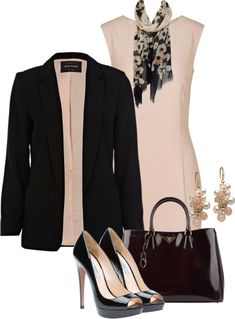 A fashion look from December 2012 featuring reiss dress, black blazer and black patent leather pumps. Browse and shop related looks. Office Fashion Women, Womens Fashion For Work, Work Fashion, Fashion Looks, Style Work, My Style, Komplette Outfits, Fashion Outfits, Jw Mode