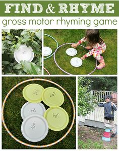 Outdoor Rhyming Game- Literacy and Gross Motor Activity for the Outdoor Classroom Rhyming Activities, Gross Motor Activities, Gross Motor Skills, Kindergarten Literacy, Early Literacy, Activities For Kids, Teaching Phonics, Rhyming Preschool, Sensory Activities