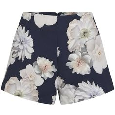 Finders Keepers Women's Earthly Treasures Shorts - Digital Floral Navy (285 BRL) ❤ liked on Polyvore featuring shorts, bottoms, pants, short, multi, flower print shorts, floral shorts, tailored shorts, floral print high waisted shorts and navy blue shorts