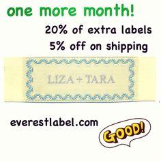 20% of extra labels and 5% off on regular shipping, June 2013 @ everestlabel.com