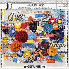 My Zodiac | Aries - Digital Scrapbook Elements by Juno Designs & Amanda Yi
