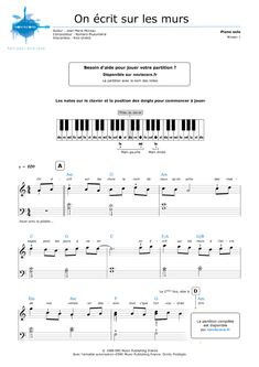 Partition piano gratuite On écrit sur les murs (Kids United) | Partitions Noviscore
