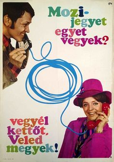 """Movie ticket - should I buy one? - Buy two, I'll come with you!"""" - This funny commercial poster from the 1960s is only $105 until the end of January! (size: 84 x 55 cm)"""