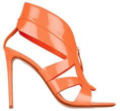Sandales à talons en cuir verni orange fluo, Nicholas Kirkwood