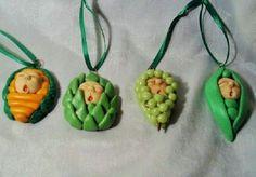 BABY VEGI ORNAMENT SET polymer clay mini art dolls carrot grapes artichoke peas