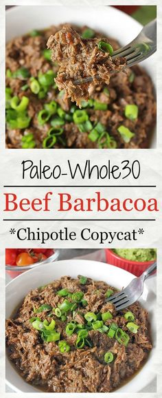 Paleo - Paleo Beef Barbacoa (Chipotle Copycat)- approved, made in the instant pot, and so delicious! Tender, juicy, and so flavorful. It's The Best Selling Book For Getting Started With Paleo Top Recipes, Whole 30 Recipes, Paleo Recipes, Mexican Food Recipes, Real Food Recipes, Copycat Recipes, Chipotle Recipes, Advocare Recipes, Paleo Whole 30
