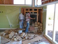 building the fireplace