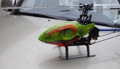 TRex airbrushing toy helicopter