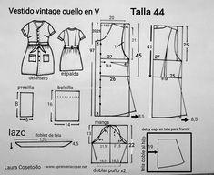 Patrón talla 44 Vestidos Vintage, Retro Pattern, Vintage Sewing Patterns, Nail Patterns, Dress Patterns