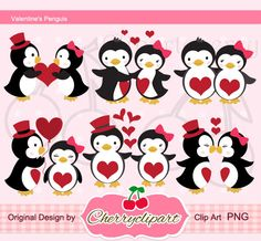 Penguins in the love Digital Clipart Set for-Personal and Commercial Use-paper…
